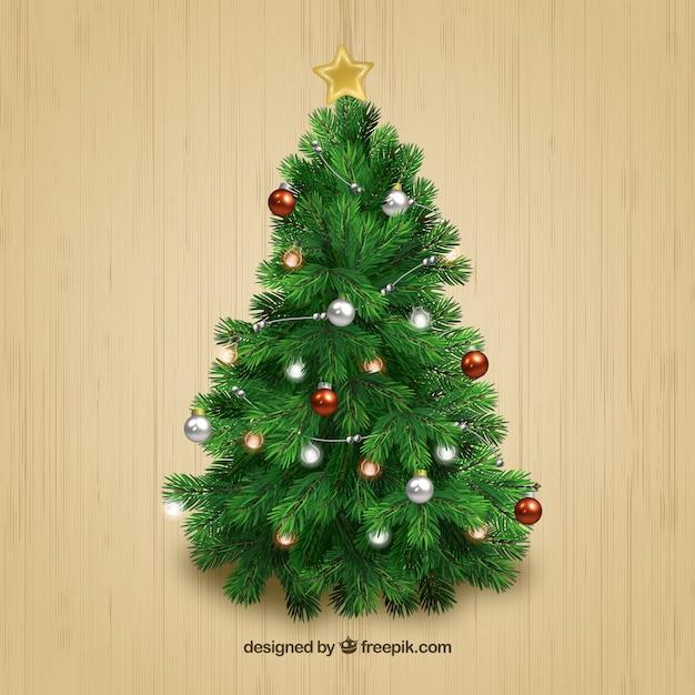 Árbol realista de navidad vector gratuito