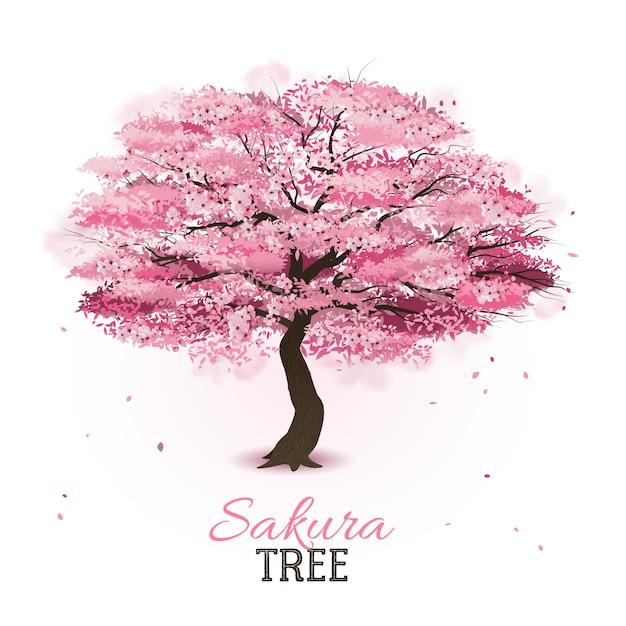 Árbol de sakura realista vector gratuito