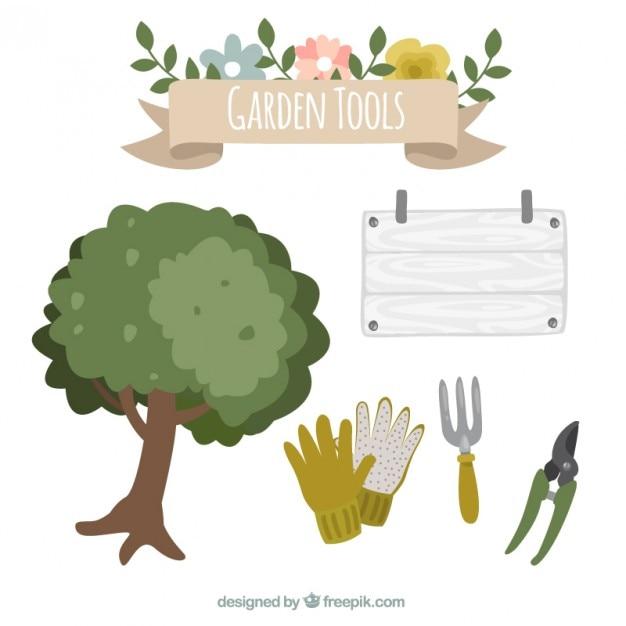 Rbol y herramientas de jard n descargar vectores gratis for Arbol para jardin