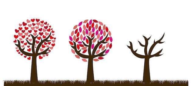 Árboles de amor lindo sobre fondo de hierba ilustración vectorial Vector Premium