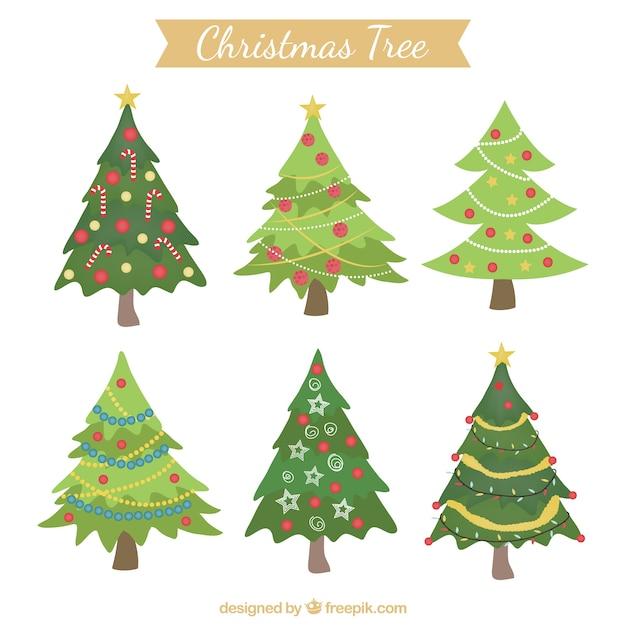 rboles de navidad decorados vector gratis