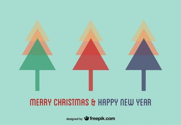 Rboles de navidad en dise o de postal de vector - Arbol de navidad diseno ...