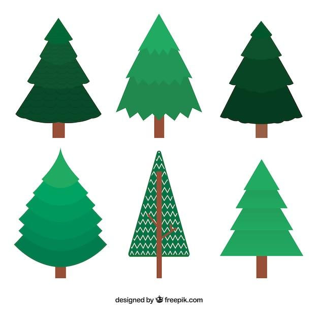 Rboles de navidad verdes en dise o plano descargar - Diseno de arboles de navidad ...