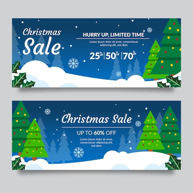 Árboles de hoja perenne con luces de cadena banners de venta de navidad vector gratuito