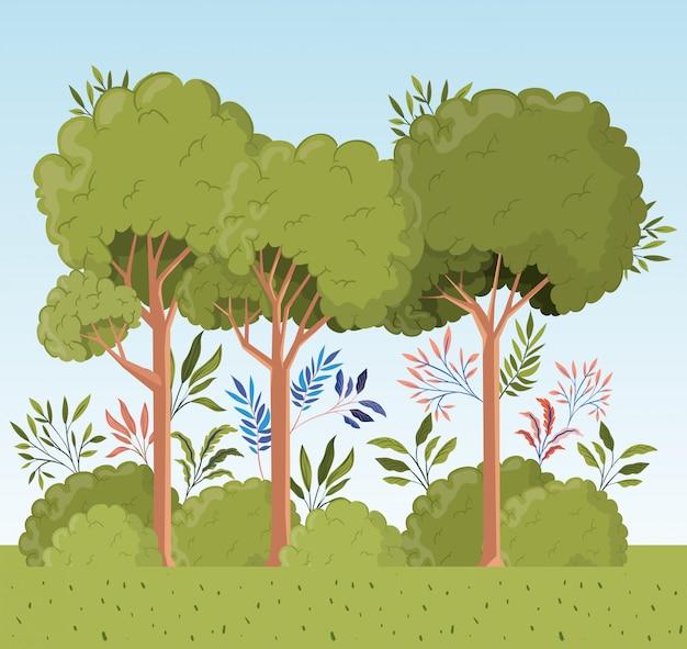 Árboles y hojas con paisaje de arbustos. vector gratuito