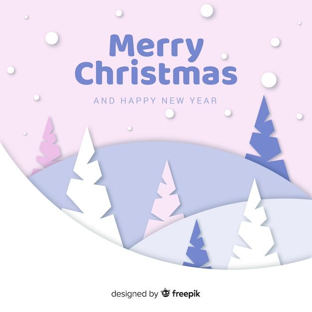 Árboles de navidad en papel vector gratuito