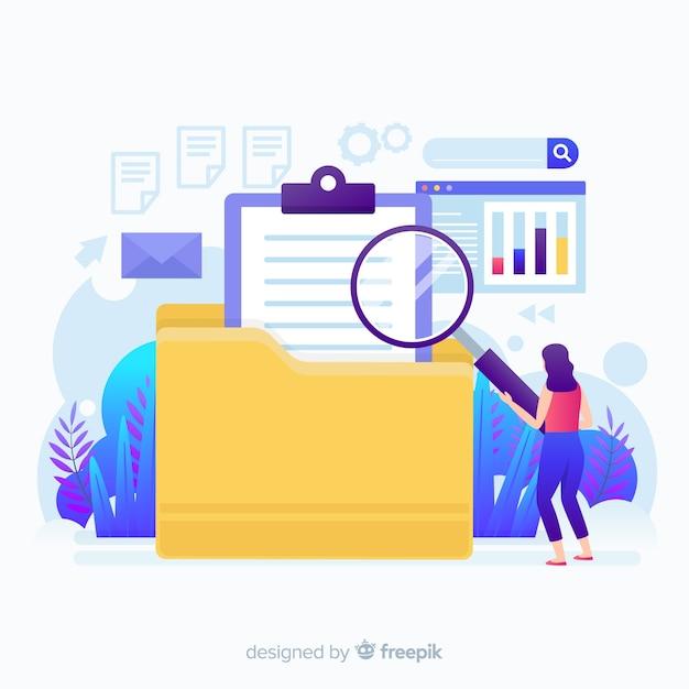 Archivo de caracteres de diseño plano buscando página de inicio vector gratuito