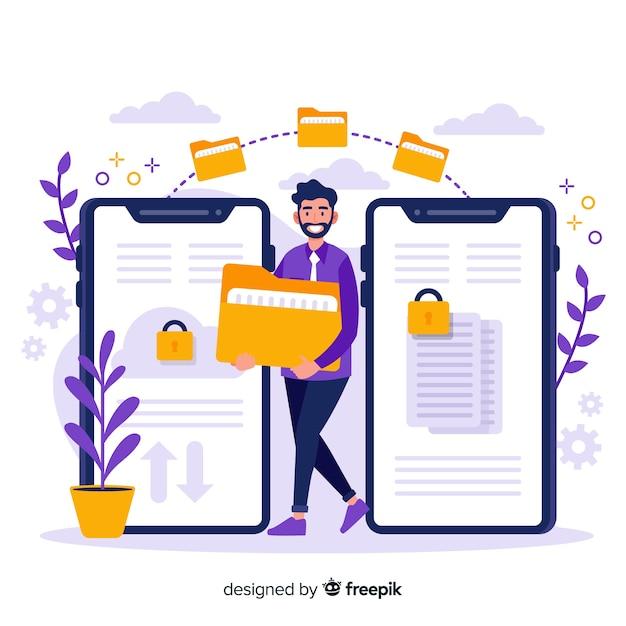 Archivos de transferencia de la página de inicio de concept vector gratuito