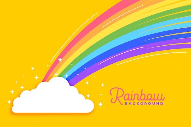 Arco iris con fondo brillante de nubes vector gratuito
