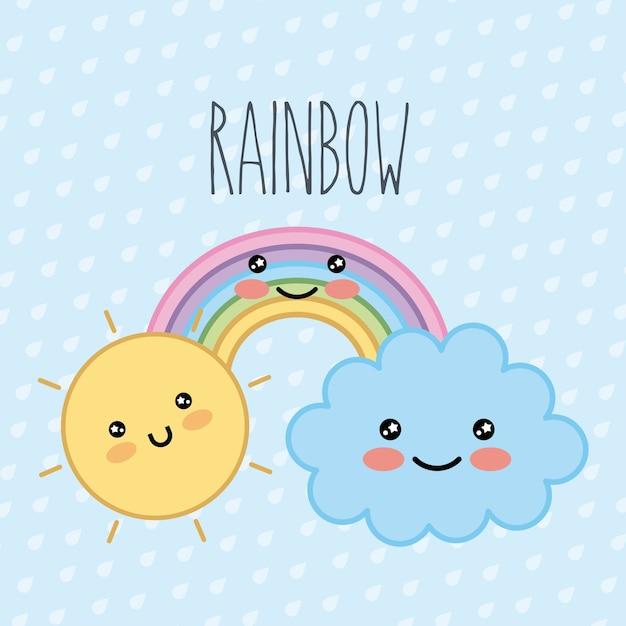 Arco iris nube sol kawaii dibujos animados puntos fondo | Descargar ...