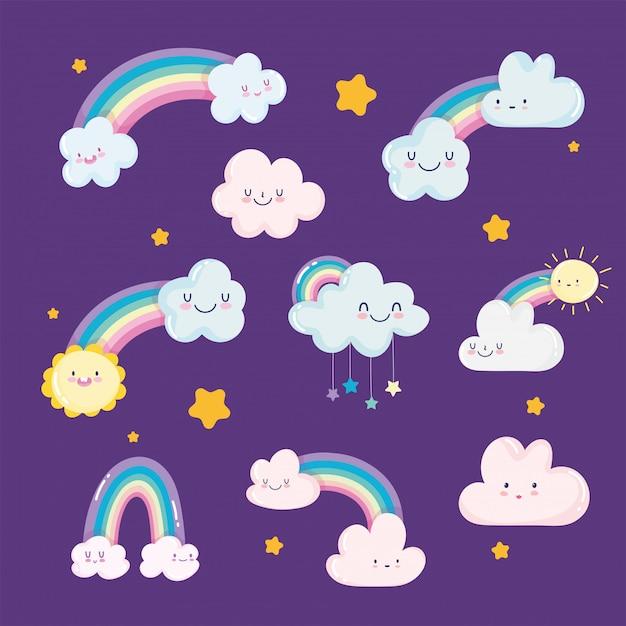 Arco iris nubes sol estrellas cielo sueño dibujos animados decoración vector ilustración Vector Premium