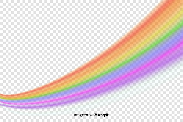Arco iris realista sobre fondo transparente vector gratuito