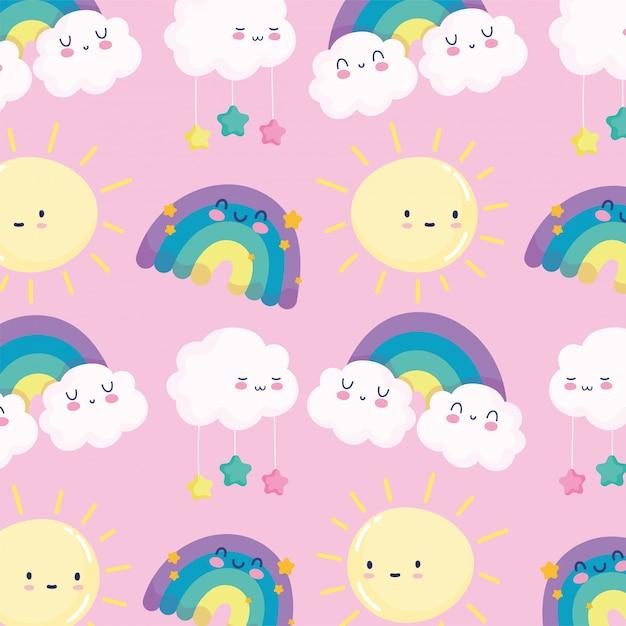 Arco iris sol nubes estrellas cielo sueño dibujos animados decoración fondo rosa ilustración vectorial Vector Premium