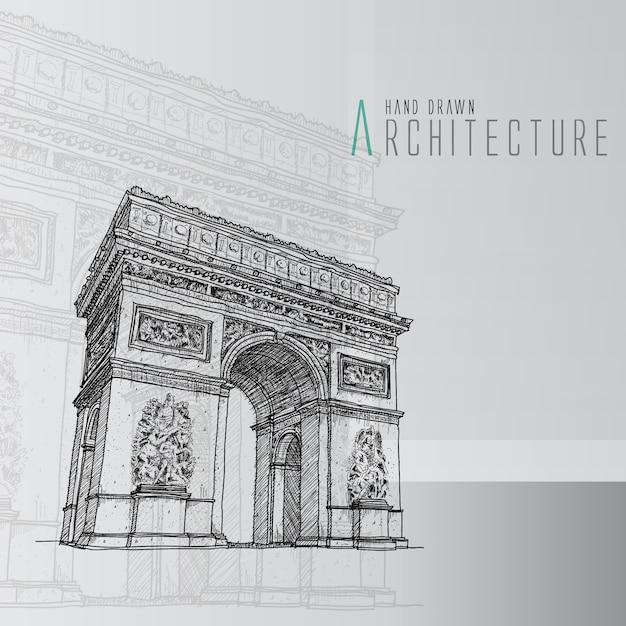 Arco del triunfo dibujado a mano | Descargar Vectores gratis