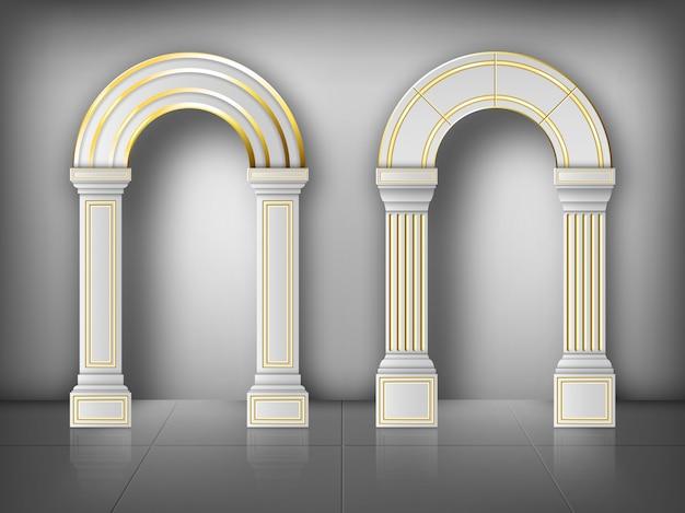 Arcos con columnas en pared pilares de oro blanco vector gratuito