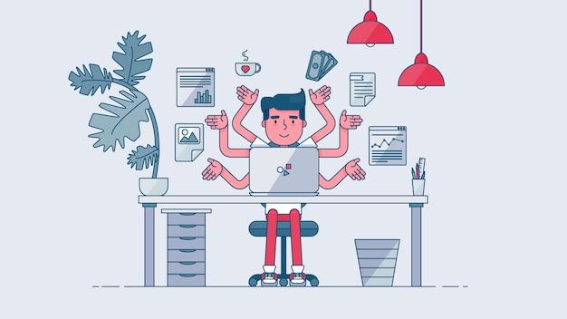 Área de trabajo de tecnología creativa Vector Premium