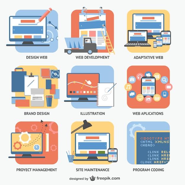 Áreas de trabajo en e-business Vector Premium