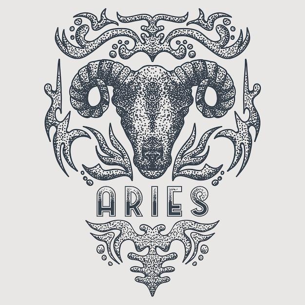 Aries del zodiaco vintage Vector Premium