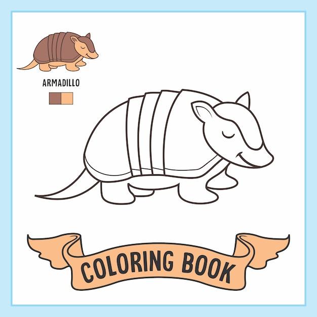 Armadillo Animales Libro Para Colorear Vector Premium