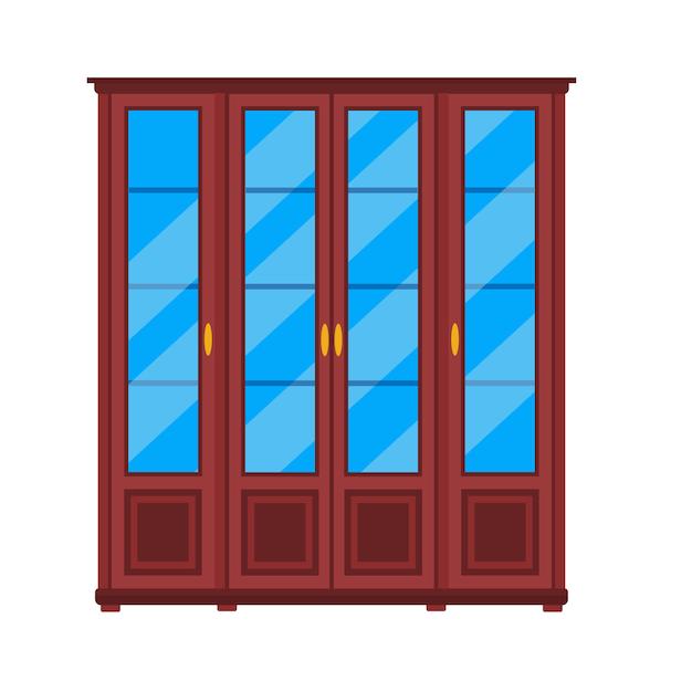 Armario armario icono estante de muebles. ropa armario interior de almacenamiento de dibujos animados. armario de moda cajón de madera Vector Premium