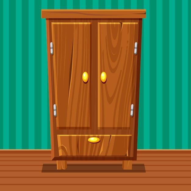 Armario cerrado divertido de dibujos animados, muebles de sala de madera Vector Premium