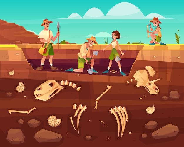 Arqueólogos, científicos de paleontología trabajando en excavaciones. vector gratuito