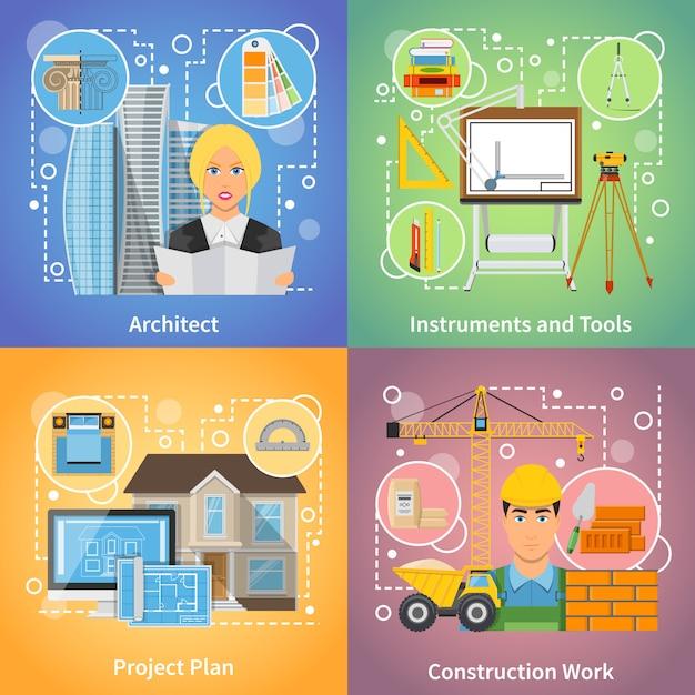 Arquitecto 2x2 design concept vector gratuito