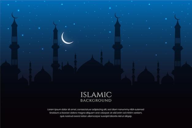 Arquitectura islámica mezquita silueta cielo nocturno y fondo de luna creciente Vector Premium