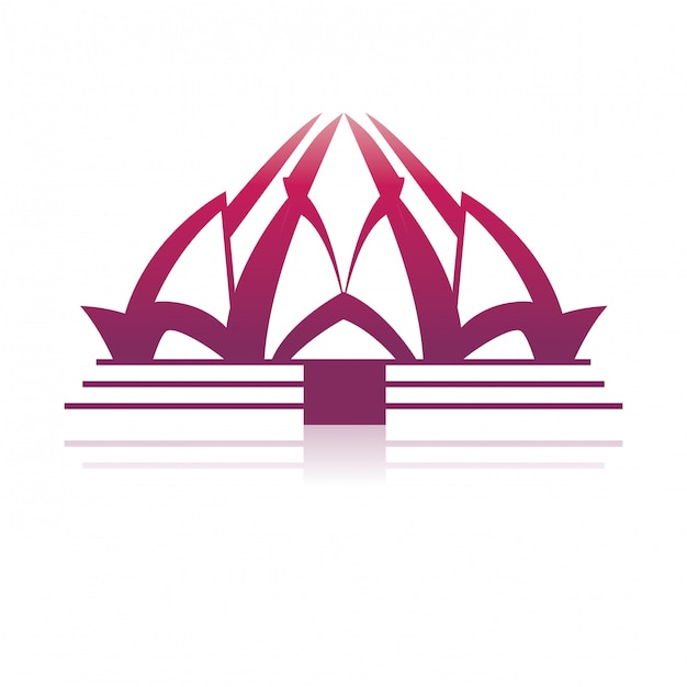 Arquitectura del templo de loto Vector Premium