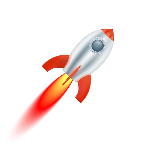 Arranca la nave espacial con aletas rojas. ilustración vectorial Vector Premium