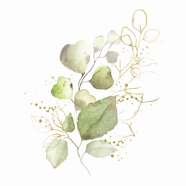 Arreglo de acuarela con hojas verdes bouquet de hierbas doradas vector gratuito
