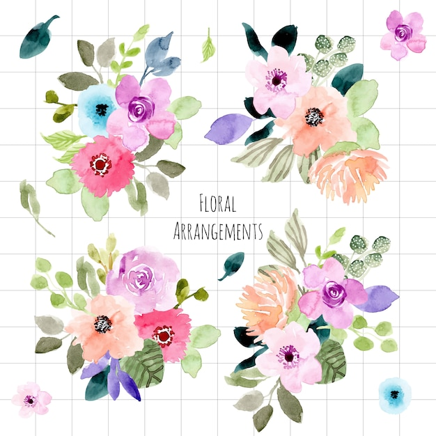 Arreglo floral acuarela colección Vector Premium