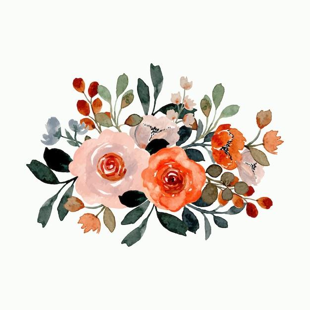 Arreglo floral con acuarela Vector Premium