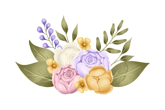 Arreglo floral vintage vector gratuito