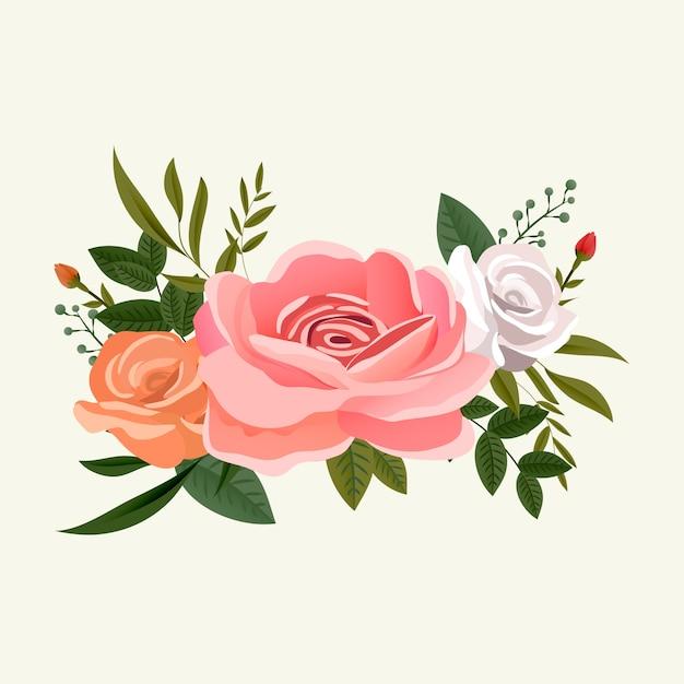 Arreglo de ramo de flores rosas vector gratuito