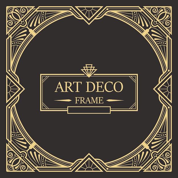 Art deco frontera y plantilla de marco. plantilla creativa en el estilo de 1920 para su diseño. Vector Premium
