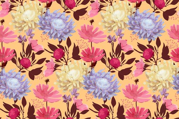 Arte floral de patrones sin fisuras. hojas aisladas sobre fondo amarillo pálido. Vector Premium