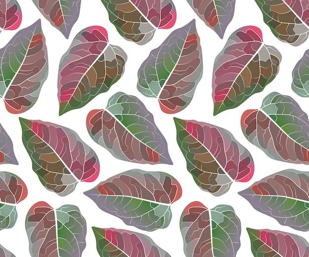 Arte floral de patrones sin fisuras. hojas de colores aislados sobre fondo blanco. patrón sin fin con hojas rojas y verdes para papel tapiz, tela, textiles para el hogar y la cocina. Vector Premium