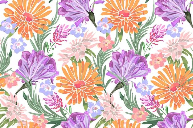 Arte floral vector de patrones sin fisuras. gloria de la mañana, ipomoea, lavanda, asteres, romero, crisantemos, margarita dorada. Vector Premium