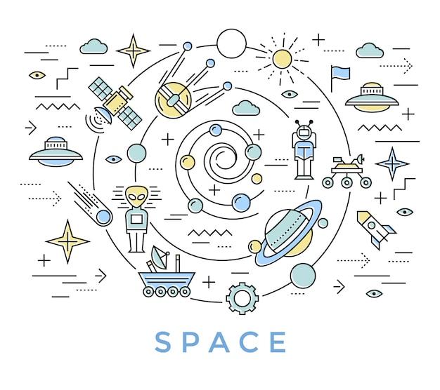 Arte de línea espacial vector gratuito
