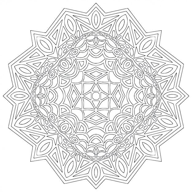 Arte de línea de mandala para colorear Vector Premium