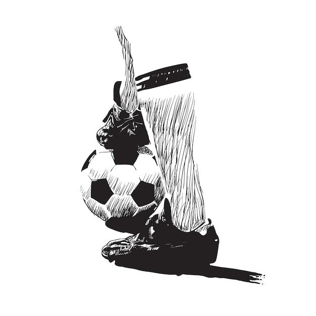 Arte de línea de vector de fútbol Vector Premium