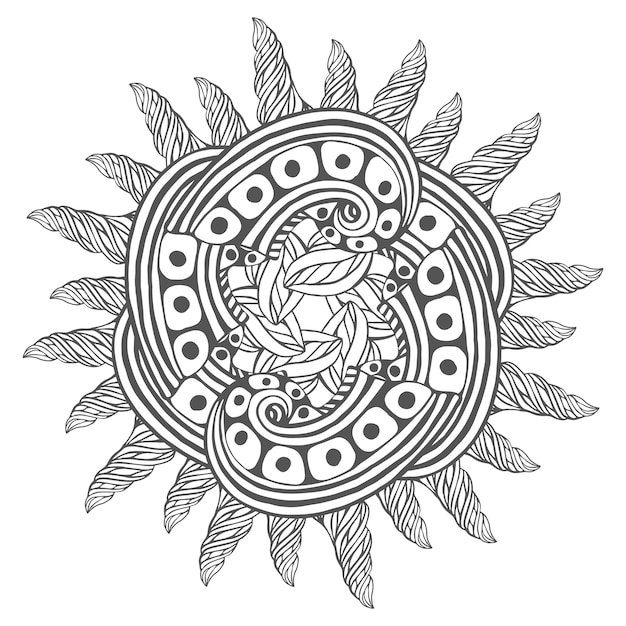 Arte mágico zentangle para colorear páginas de libros. mandala para ...