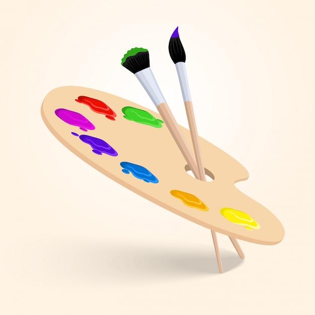 Arte paleta de colores con pincel herramientas de dibujo aisladas sobre fondo blanco ilustración vectorial vector gratuito