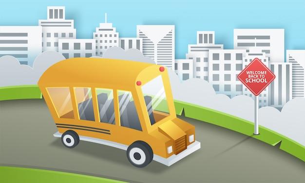 Arte en papel del autobús escolar que se ejecuta en el camino rural, concepto de regreso a la escuela Vector Premium