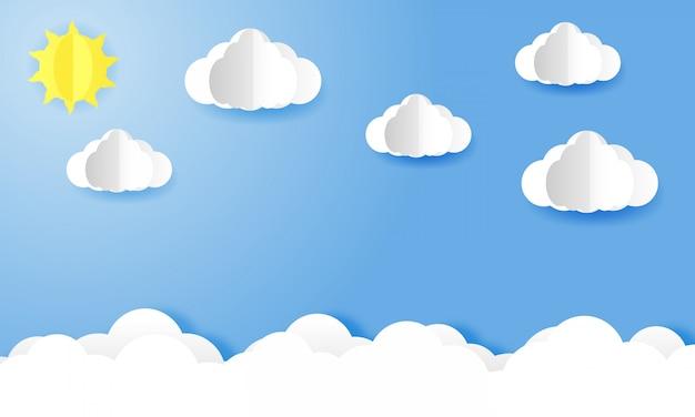 Arte en papel del cielo brillante durante el día Vector Premium