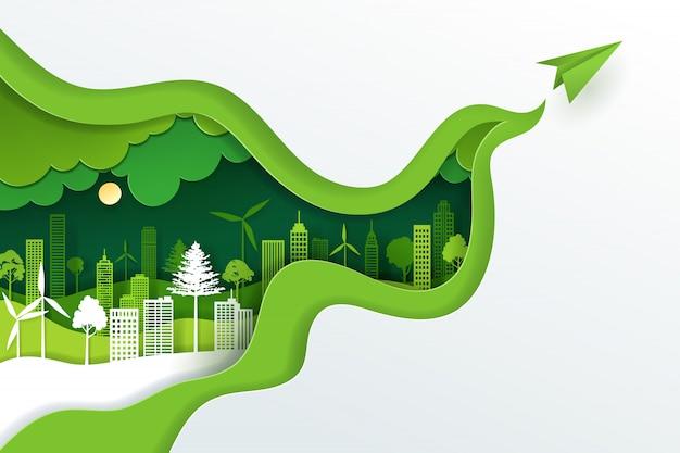 Arte en papel y estilo artesanal digital de paisaje con eco verde ciudad urbana, día de la tierra y concepto del día mundial del medio ambiente. Vector Premium