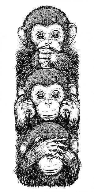 Arte del tatuaje bosquejo monos, orejas cerradas, ojos cerrados, boca cerrada en blanco y negro Vector Premium