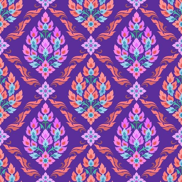 Arte de la tradición tailandesa en patrones sin fisuras de color púrpura. Vector Premium