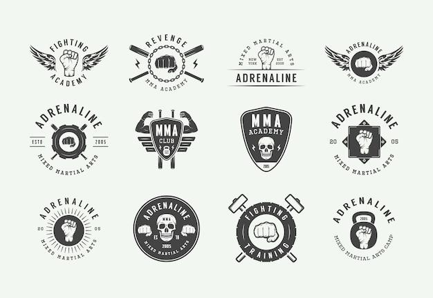 Artes marciales mixtas vintage o logotipos de clubes de lucha Vector Premium
